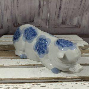 Staffordshire Victoria Pig Swine Blue White Decor